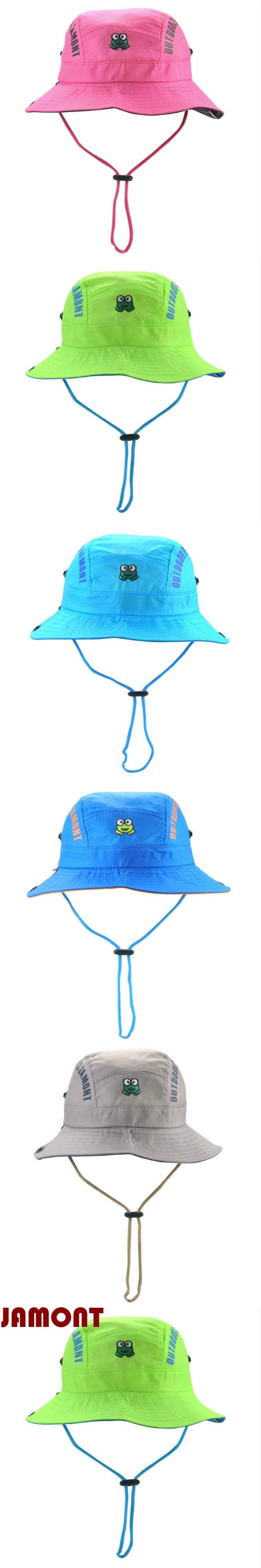 [JAMONT]cartoon children summer hat kid Quick dry bucket hat wide brim fishing cap for girl boy beach sun panama with string