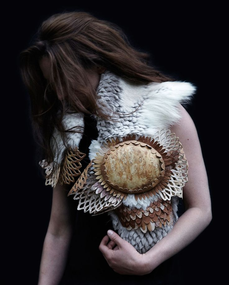 Hanna Hedman. Neckpiece: North, 2014. Raindeer skin, bark of birch, textile, tree burl. Photo by: Sanna Lindberg