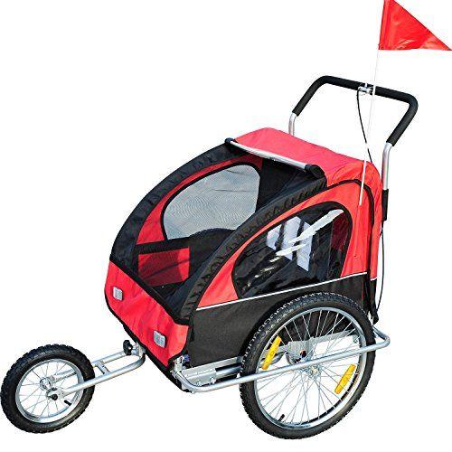 #puericultura Remolque para Niños 2 PLAZAS con Amortiguadores Carro para Bicicleta CON BARRA INCLUIDA y Kit de Footing COLOR ROJO Y NEGRO