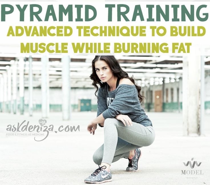 Pyramid Training to build muscle while burning fat! These 3 styles of training will burn out your muscles and burn calories. 3 FREE workouts at the end!