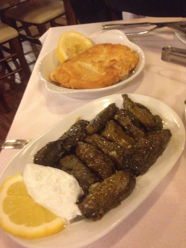 Mama's #dolmades and #cheese #saganaki - the essential  #meze dishes.