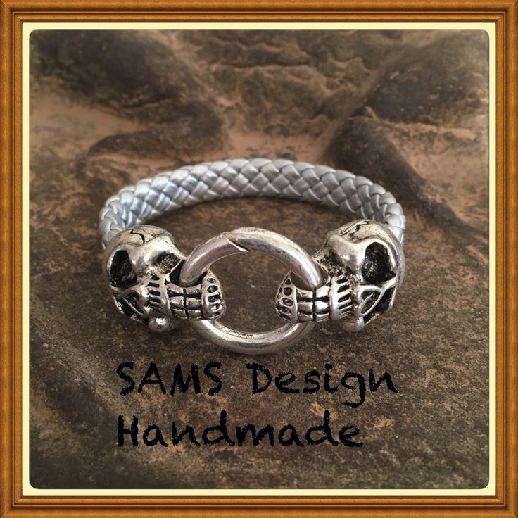Läderarmband silvermetallic  Leather bracelet silvermetallic SAMS Design Handmade