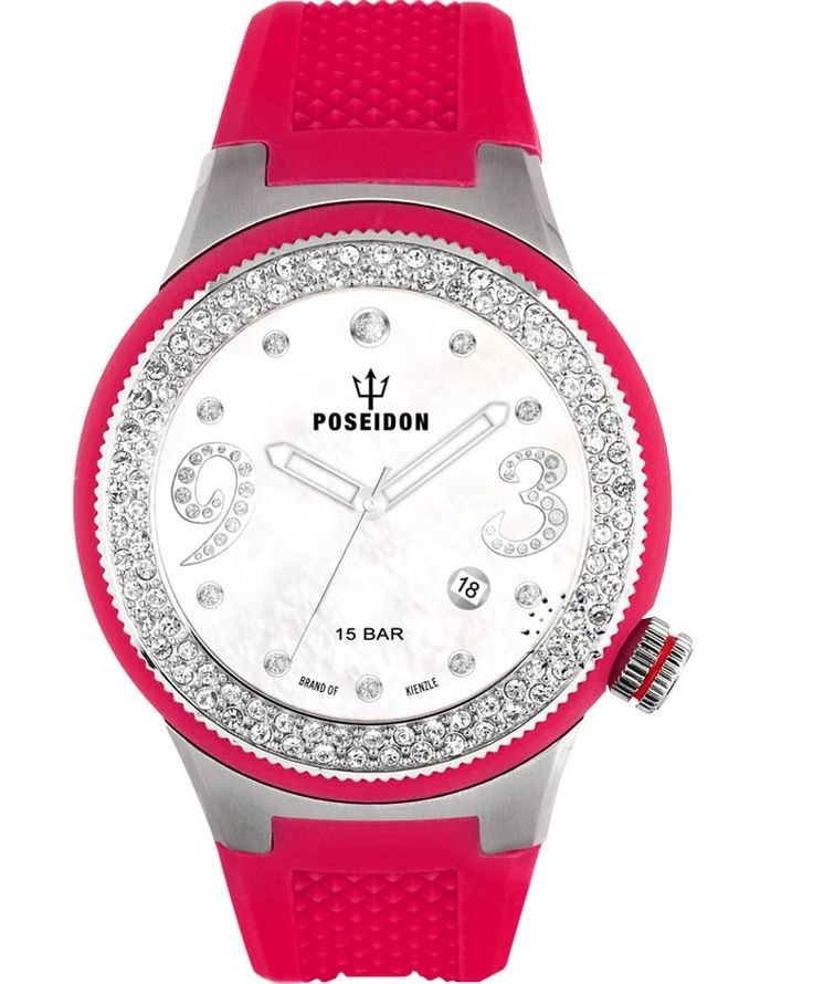 POSEIDON Crystal Ladies Fucshia Silicone Strap Τιμή: 149€ http://www.oroloi.gr/product_info.php?products_id=34120