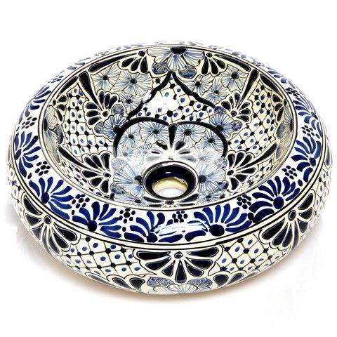 Mexican Angelina Round Vessel Hand Painted Bathroom Basin