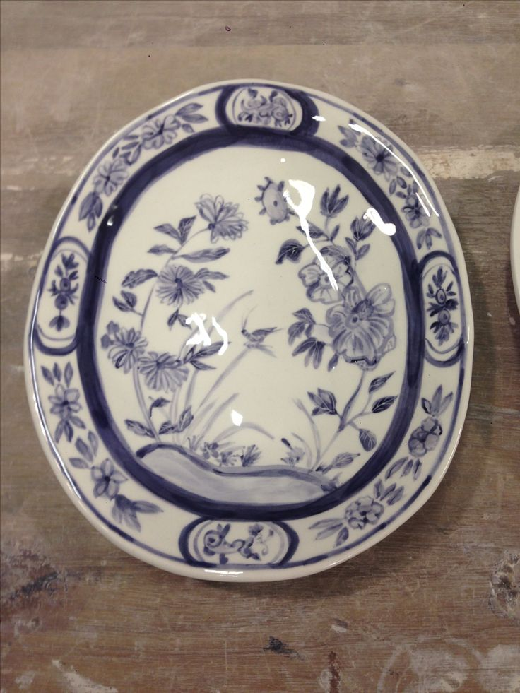 Hand painted blue and white plates