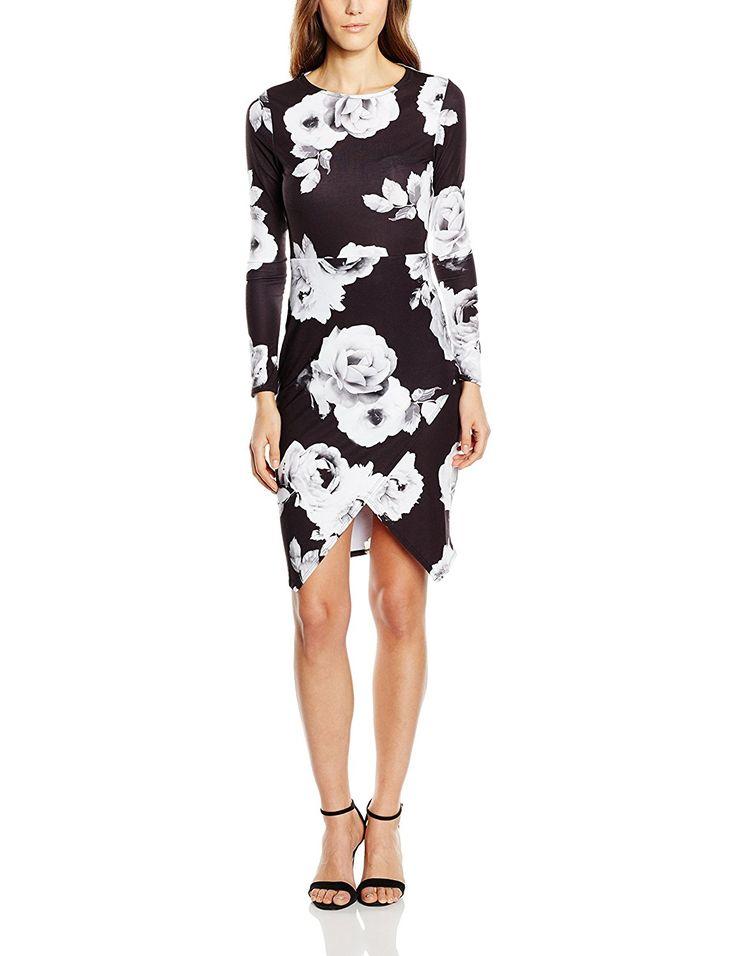 Lipsy Women's Asymmetric Rose Print Long Sleeve Dress