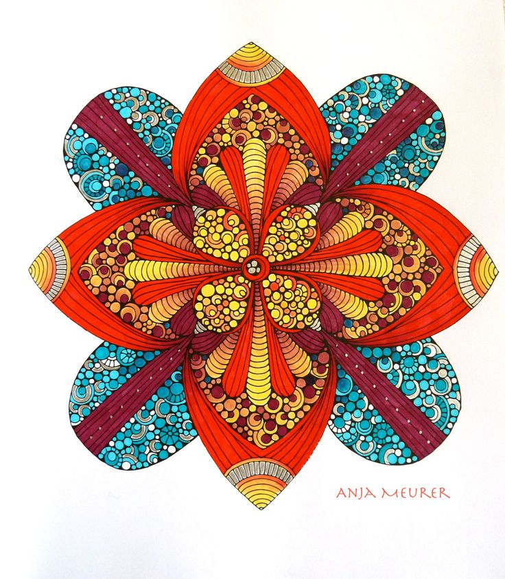 Picture from Creative Coloring Mandalas by Valentina Harper; Colouring: Anja Meurer