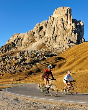 Autumn cycling in the Dolomites, Italy - Passo Giau