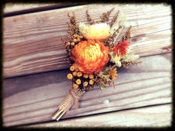 Prairie Sunset Collection - Pin Corsage - Burnt orange, cream, golden yellow - Rustic Fall Wedding - Mother - Bridal Dried Flowers