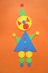 Preschool Paper & Glue Crafts Activities: Make a Triangle-Circle Clown