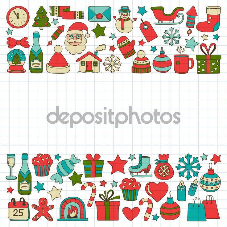 Фотообои Каракули векторные иконки с Рождеством и наступающим Новым годом