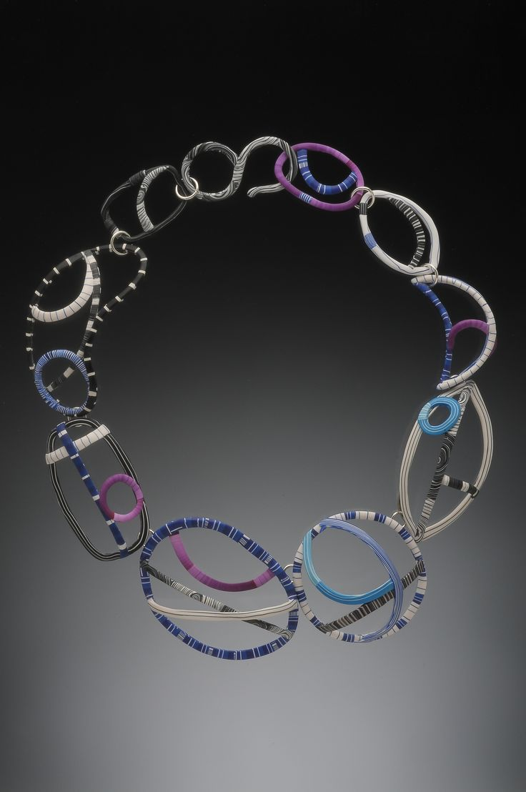 Wire Lines Necklace- polymer veneers and nickel silver armature