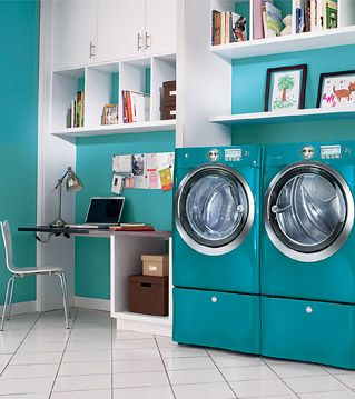 laundry room.  I love that color... And having a desk in the laundry room is a great idea so you can get things done without forgetting about the laundry!