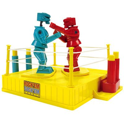 "Originally manufactured by the Marx Toy Company in 1964, Rock 'Em Sock 'Em Robots pits two mechanically controlled robot in a fight to see who can knock the other's head off. Sold in the UK as ""Raving Bonkers"" the robots dominated every young boys wish list for much of the 60's and 70's."