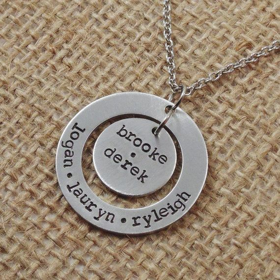 Hand Stamped Family Necklace Personalized by HeartfeltTokens