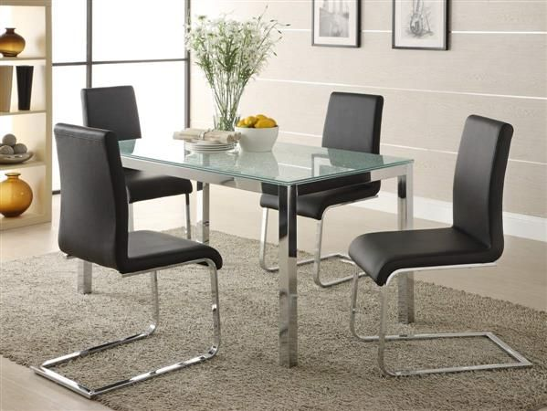 Knox Chrome Metal Glass Black PVC Dining Room Set