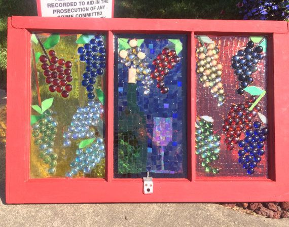 repurposed window with glass mosaics in wine by GlassyGiftsByLisa