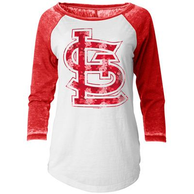St. Louis Cardinals 5th & Ocean by New Era Women's Burnout Flower 3/4-Sleeve Raglan T-Shirt - White/Red