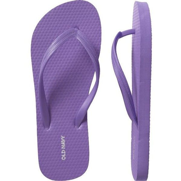 Old Navy Womens New Flip-Flops ($1.99) ❤ liked on Polyvore featuring shoes, sandals, flip flops, purple, old navy, women, purple flip flops, purple shoes, flip shoes and flexible shoes