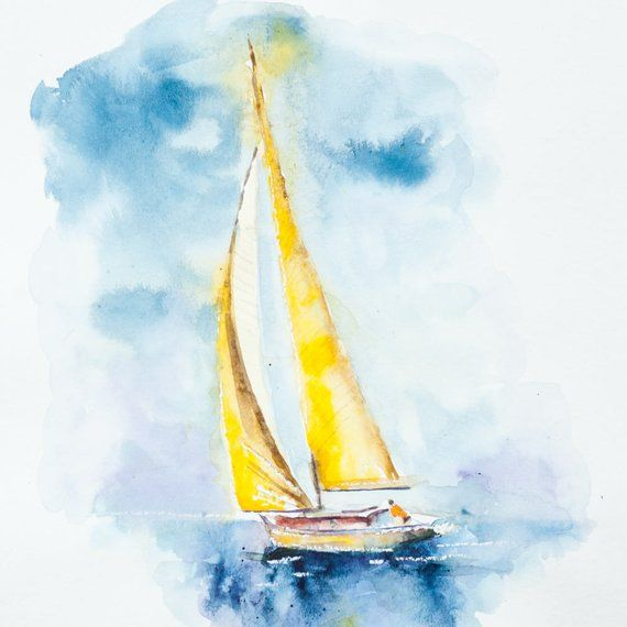 Watercolour Sailboat 8x10 Inches Print Of My Original Painting Sailboat Art Sailing Art Sailboat Painting
