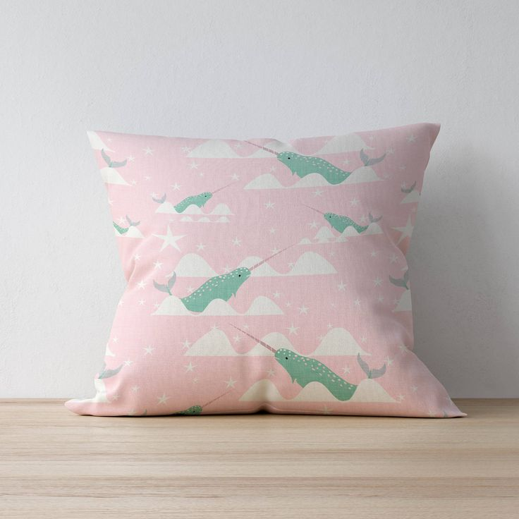 Excited to share the latest addition to my #etsy shop: Narwhal Pillow, Nursery Cushion, Kids Pillow Cushion, Nautical Cushion, Home decor, Children Room Decor, Nursery Decor, Playroom decor http://etsy.me/2ChA6Du #housewares #pillow #pink #toddler #green #mothersday