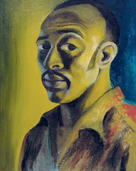 Wonderful self-portrait (1947) by South African painter Gerard Sekoto (1913-1993). Oil on canvas board, 45.7 x 35.6 cm. via Stevenson