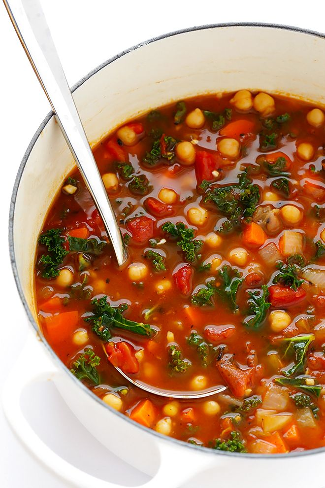 This 20-Minute Moroccan Chickpea Soup recipe is full of rich flavors, and incredibly quick and easy to make. | gimmesomeoven.com (Vegetarian / Vegan / Gluten-Free)