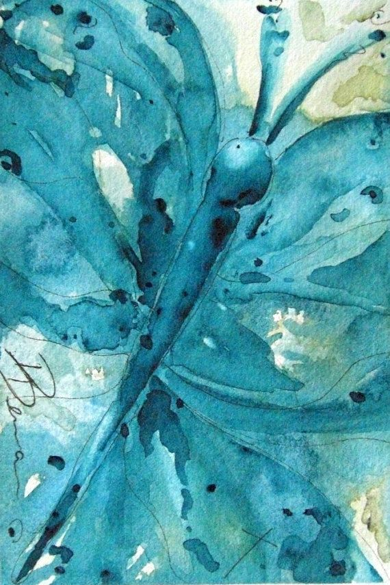 Butterfly Art Original Watercolor Painting of by RedbirdCottageArt