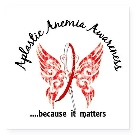 """Aplastic Anemia Butterfly 6 Square Sticker 3"""" x 3"""""""