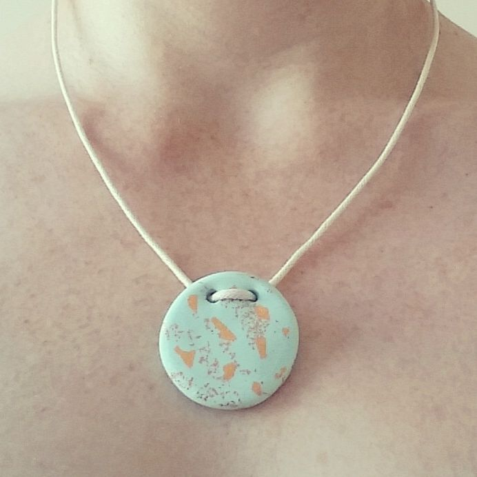 Mint copper leaf polymer clay adjustable waxed string pendant necklace on trend                                                                                                                                                                                 More