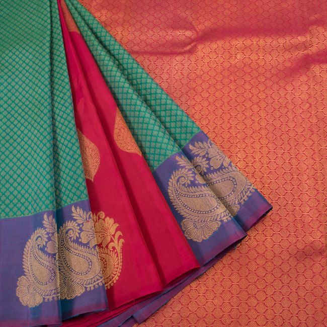 Handwoven Blue & Magenta Jacquard Kanchipuram Silk Saree With Partly Pallu & Paisley Border 10012930 - AVISHYA.COM