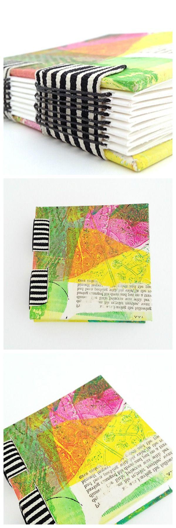 "Mini 4"" x 4"" book with a #gelli print cover and ribbon binding."