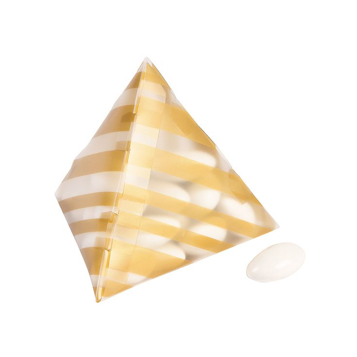 Gold Pyramid Favor Boxes : Each gold striped pyramid favor boxes