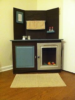 tv stand play kitchen | TV stand turned play kitchen for my Little Man! | Lillian Rose
