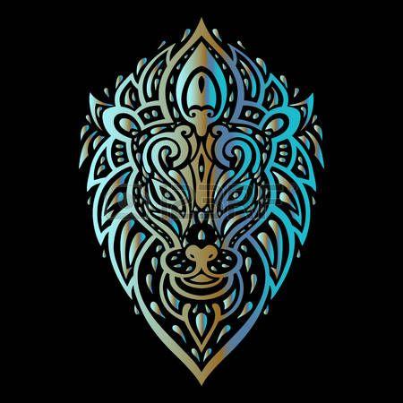 45727735-Львы-голову-племенной-узор.-Полинезийской-стиль-татуировки.-Векторная-иллюстрация..jpg (450×450)