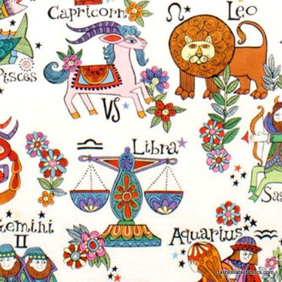 Fabric zodiac in bright by alexander henry fabrics for Astrology fabric