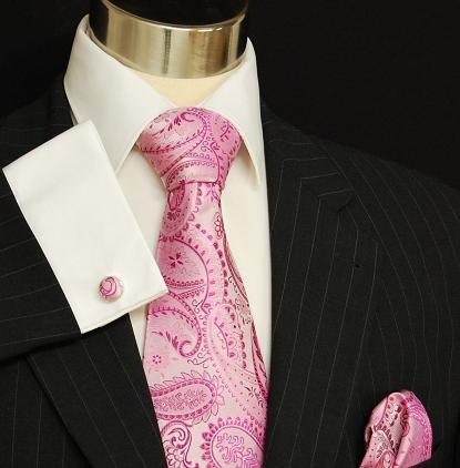 Pink Paul Malone Paisley Tie Set (800CH) love this look