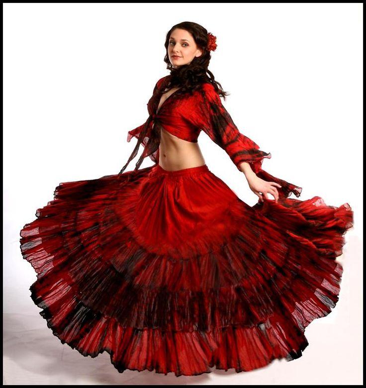 BellyDance Renaissance Gypsy Tribal Red Cotton Ruffle Tier Costume Skirt SKC64 | eBay 76