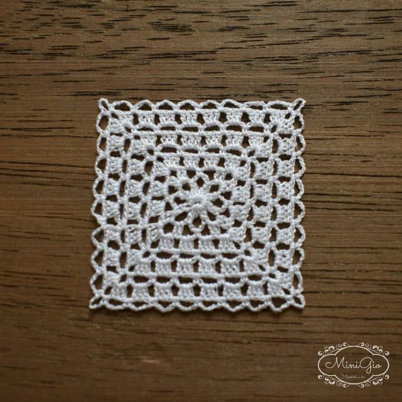 Miniature crochet square doily 1.2 inches dollhouse crochet