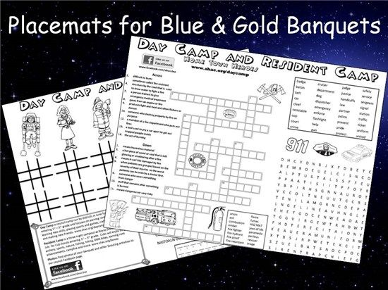 blue and gold camping invitation | Placemats for Blue and Gold Banquets