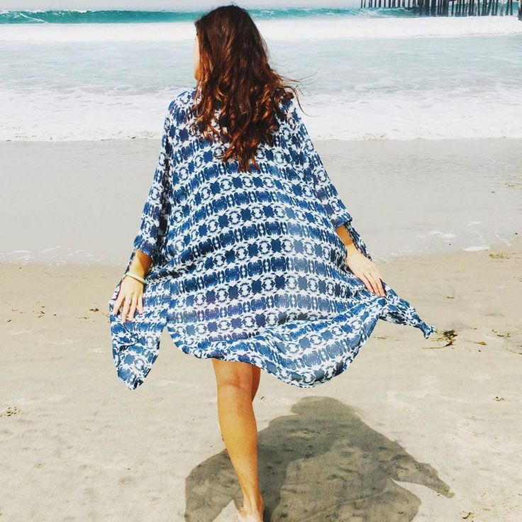Blue & White Tribal-Print Open-Front Long Beach Cover Up One Size 1