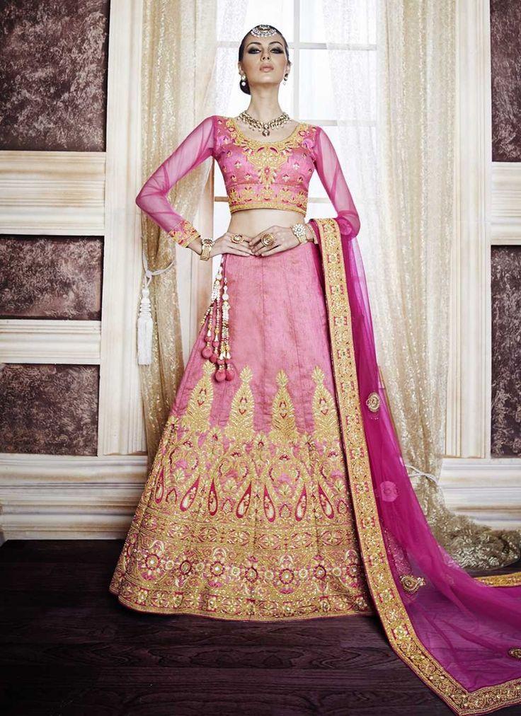 Pink Lehenga Choli, Dupion Raw Silk Lehenga Choli, $374.32. Buy latest Lengha choli with custom stitching and worldwide shipping.