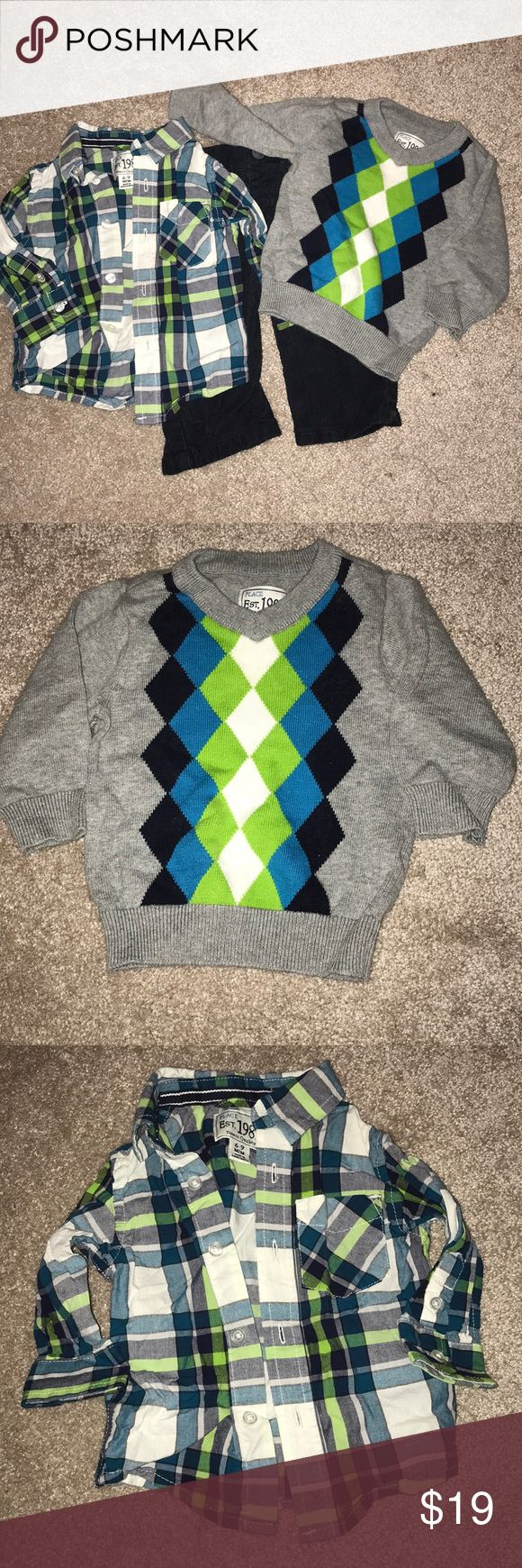 💙💚3 pc Boys outfit💚💙 Perfect outfit for church or a special occasion. Pants are dark blue corduroy. Children's Place Matching Sets