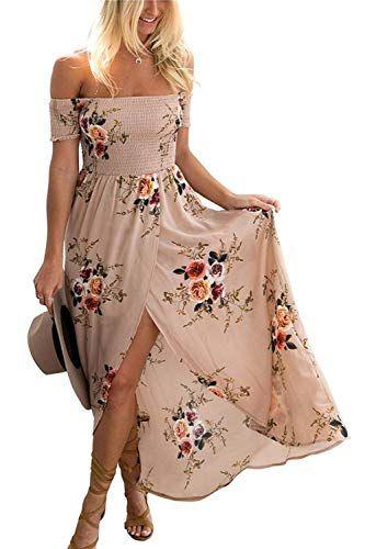 e270ecc3a6ff3e ... Bohme Chic Maxi robe de Plage Soire Casual Imprim Fleurie Mode  FendueCol Bateau paules Dnudes. GREMMI Women Summer Beach Dress Off The Shoulder  Floral ...