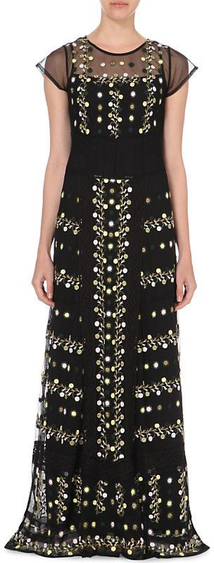 French Connection Springfield embroidered maxi dress