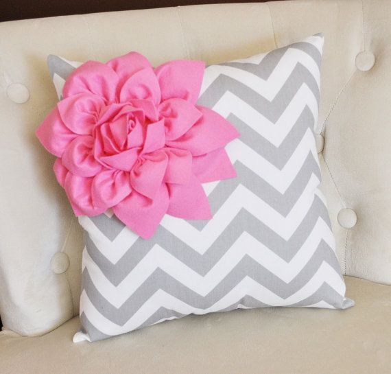 Pink Corner Dahlia on Gray and White Zigzag Pillow