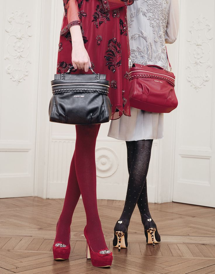 TWIN-SET Simona Barbieri: mini Cécile satchel bag, suede court shoes with rhinestones on chiffon accessory and suede court shoes with heels covered in spotted ponyskin