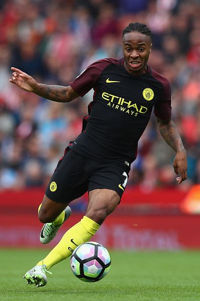 Raheem Sterling of Manchester City during the Premier League match between Stoke City and Manchester City at the Britannia Stadium on August 20 2016...
