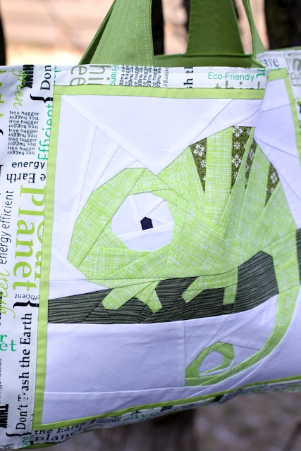 Shape Moth: Carl the Cameleon PP block and 'Think green' grocery bag