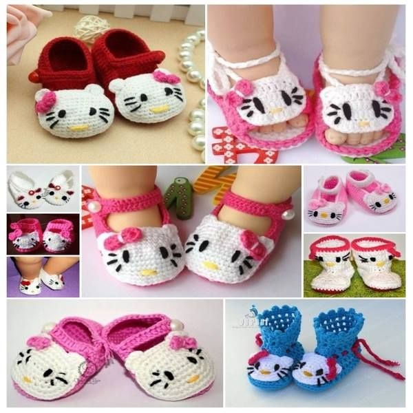 Hello Kitty Crochet Baby Shoes